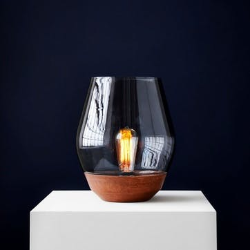 Bowl, Table Lamp, D25cm, Copper with Smoked Glass