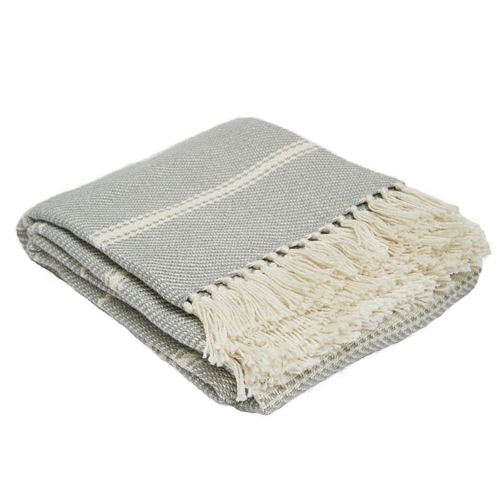Oxford Stripe Blanket, 2.3 x 1.3m, Dove Grey