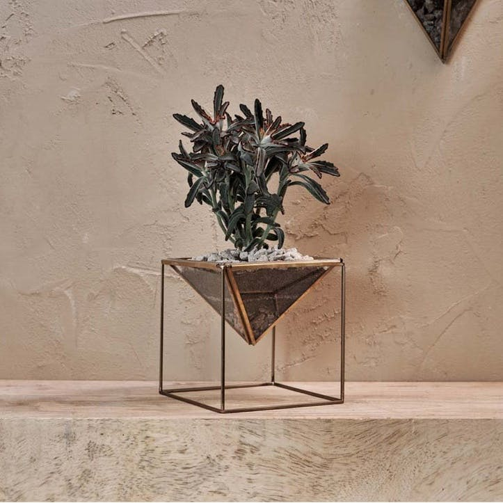 Karana Planter On Stand; Antique Brass