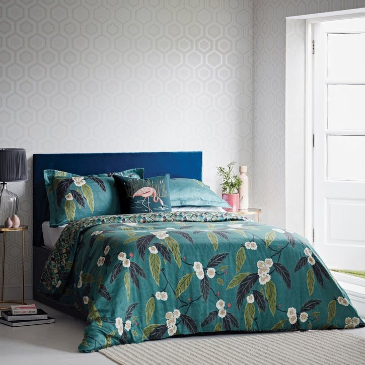 Coppice Super King Duvet Cover, Peacock