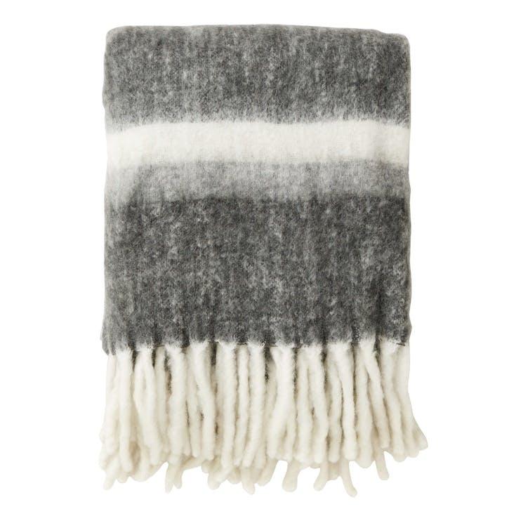 Mohair Look Stripes Throw, Grey