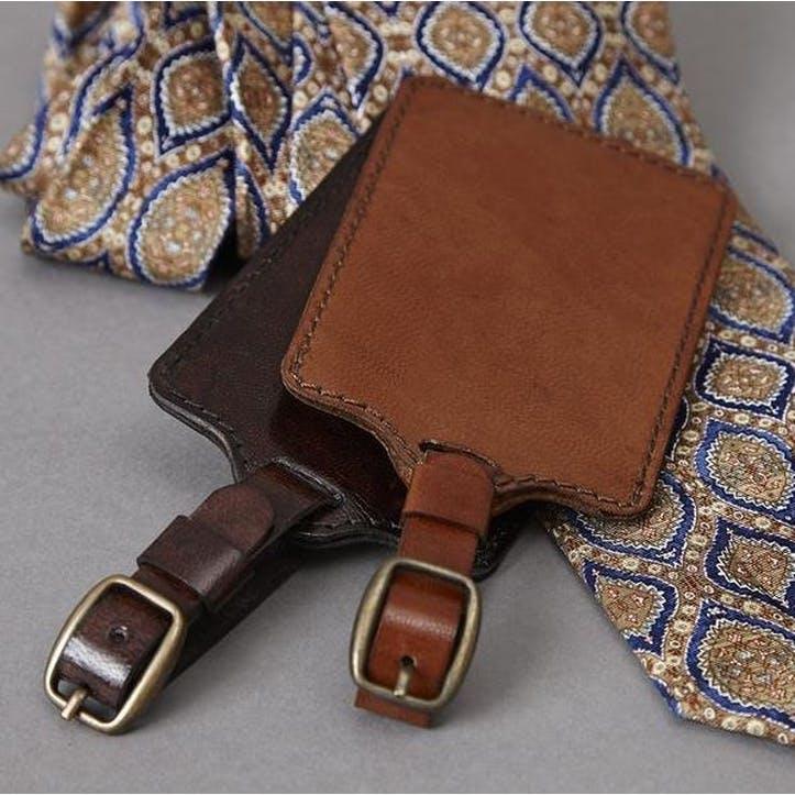 Leather Luggage Tag, Dark Brown