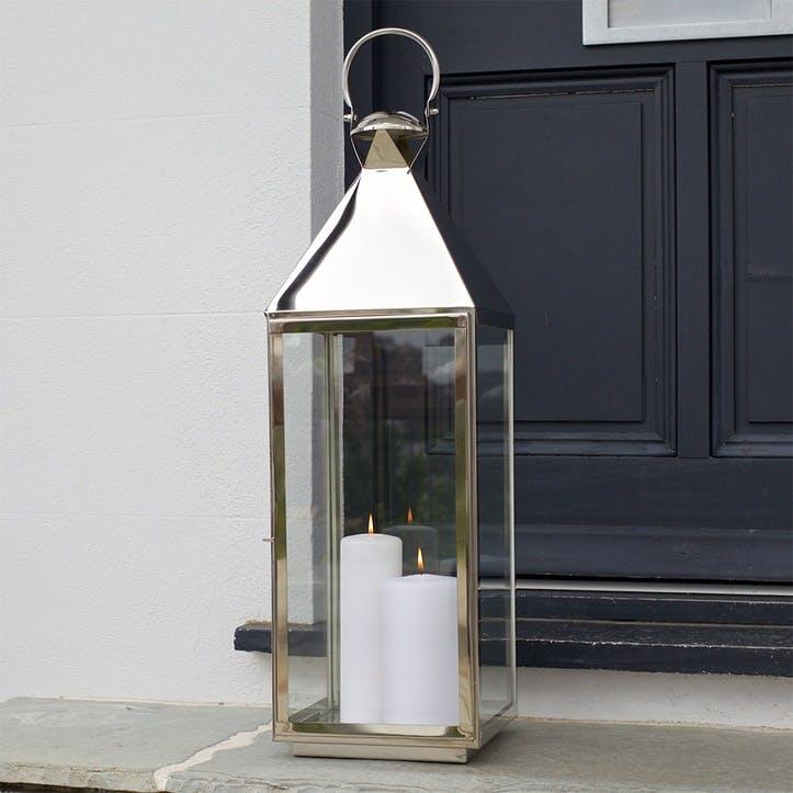 Topsham Stainless Steel Pillar Candle Lantern, Large