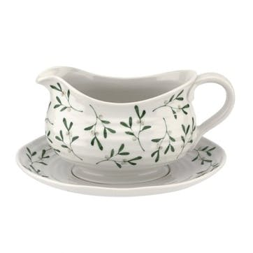 Mistletoe Sauce Boat and Stand