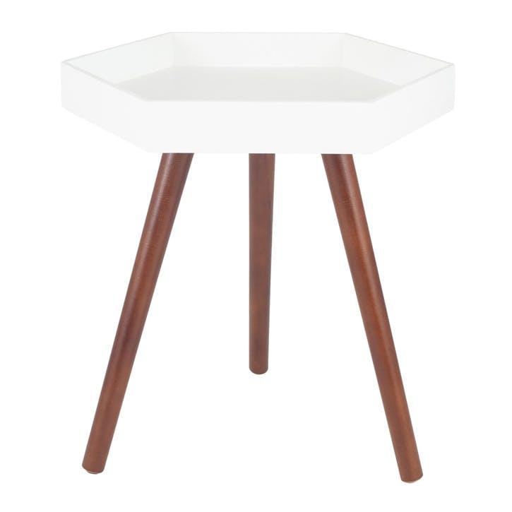 Halston Hexagon Side Table, Large, White