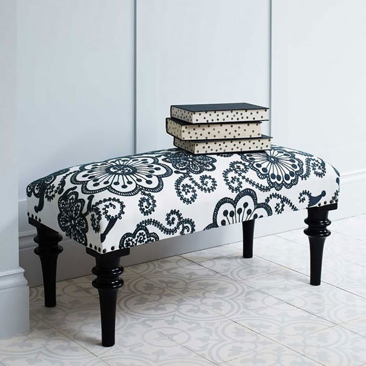 Embroidered Kashmir Flowers Upholstered Bench