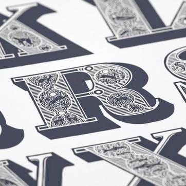 A-Z of Animal Groups Screen Print, 50cm x 70cm, Sheer Slate