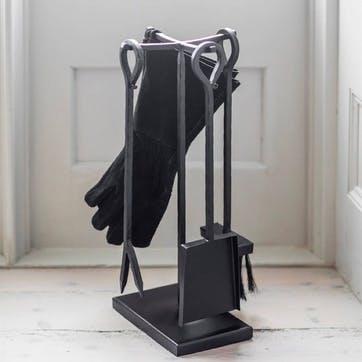 Wood Burner Set with Suede Gloves, Black