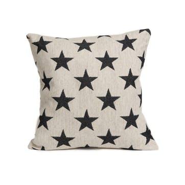 Antares Star Cushion Black On Linen, 40cm