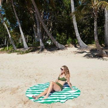Round Beach Towel; Cancun Green