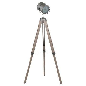 Marine Metal & Antique Wood Tripod Floor Lamp