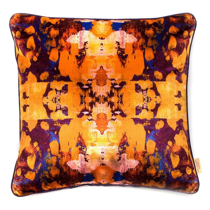 Osmosi Arrancione Kaleidoscope, Square Velvet Cushion, H49 x W49cm