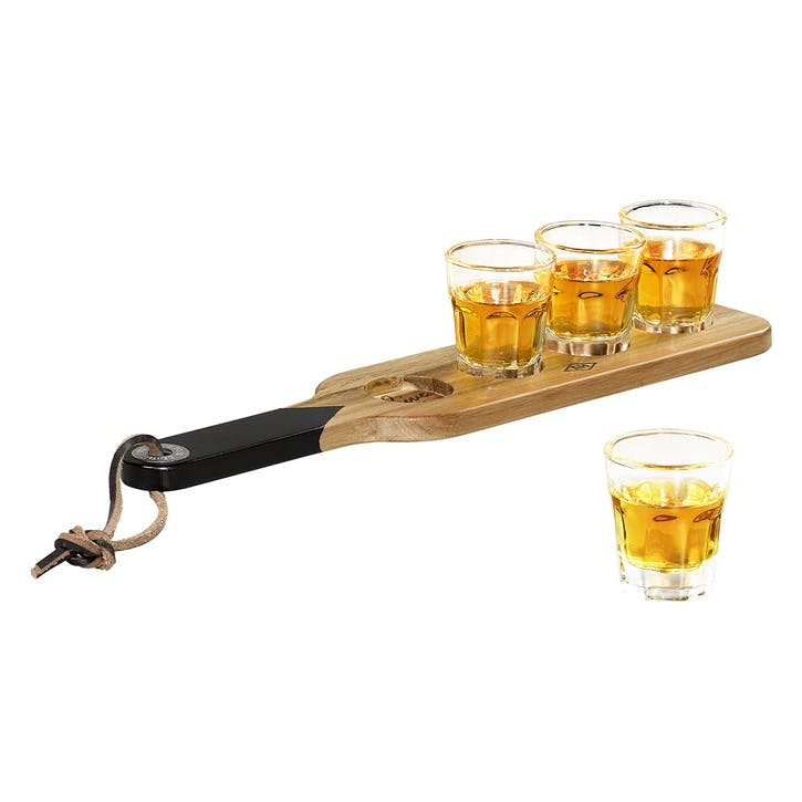Gentlemen's Hardware Shot Glasses & Serving Paddle
