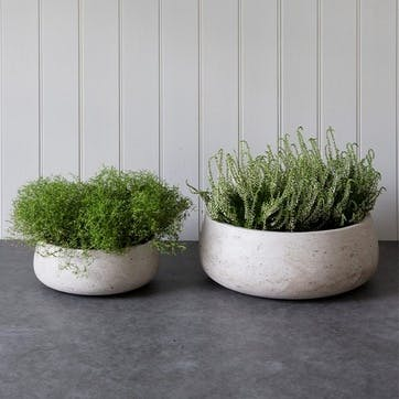 Stratton Set of 2 Cement Bowls, Stone