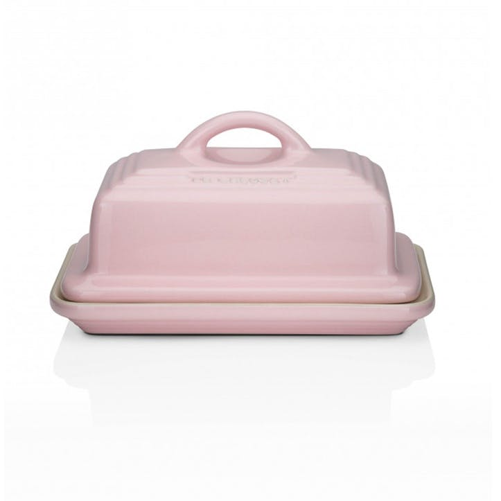 Stoneware Butter Dish; Chiffon Pink