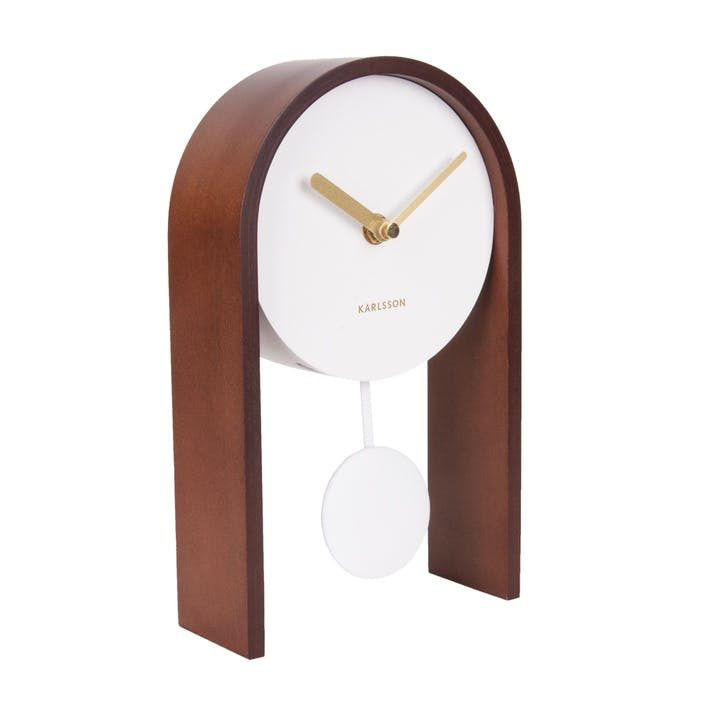 Smart Pendulum Table Clock, Dark Wood