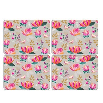 Peony Collection Placemats, Set of 4, Grey