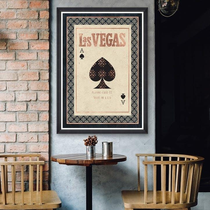 Las Vegas Black Framed Print,70 x 100cm