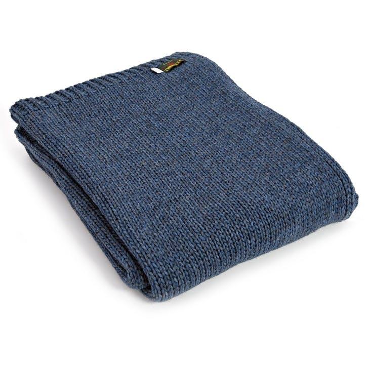 Knitted Alpaca Throw; Blue Slate