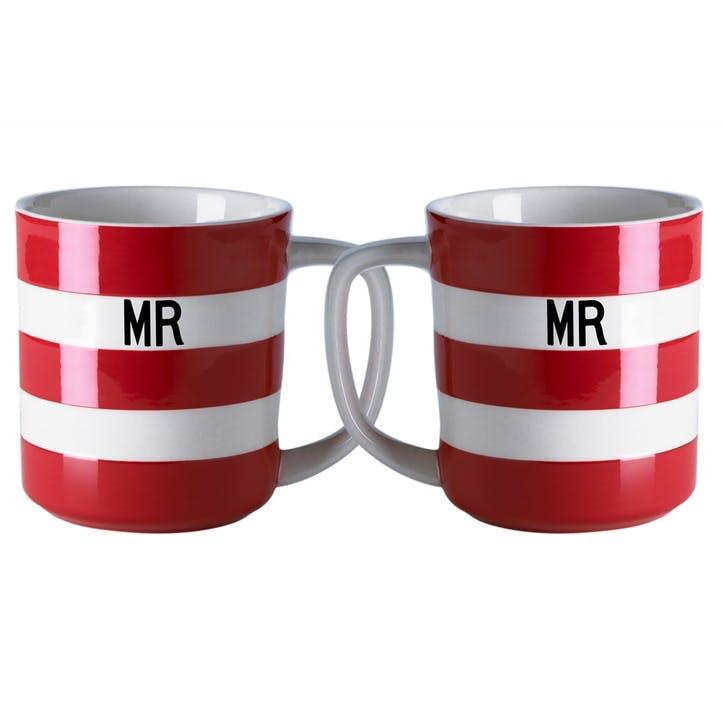 Set Of 2 'Mr & Mr' Mugs, 10oz/28cl, Red