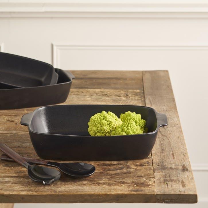 Matte Black Stoneware Oven Dish - Large