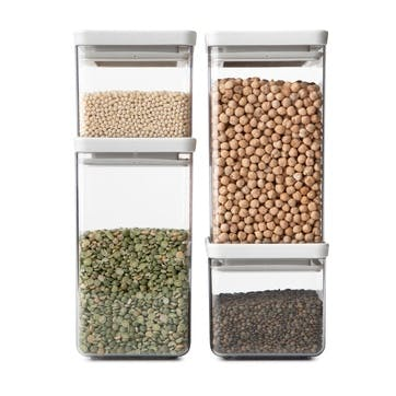 Tasty+ Stackable Square Canisters, Set of 4, Light Grey Lids
