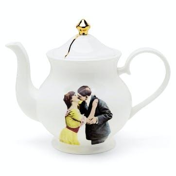 Modern Surrealist Kissing Couple Teapot, 6 Cup