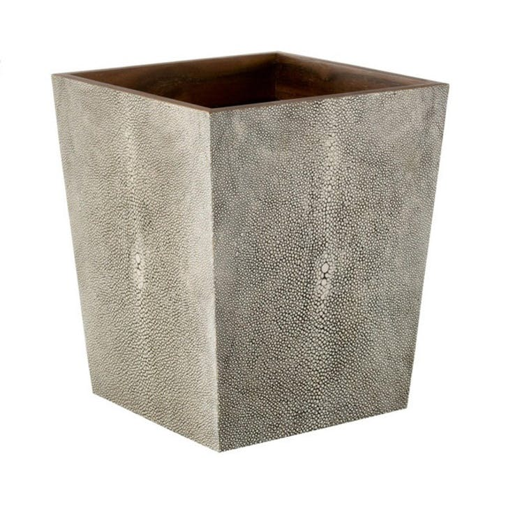 Faux Shagreen Wastepaper Bin, Taupe