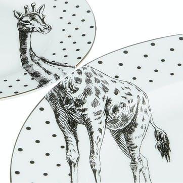 Monochrome Giraffe Plate Set
