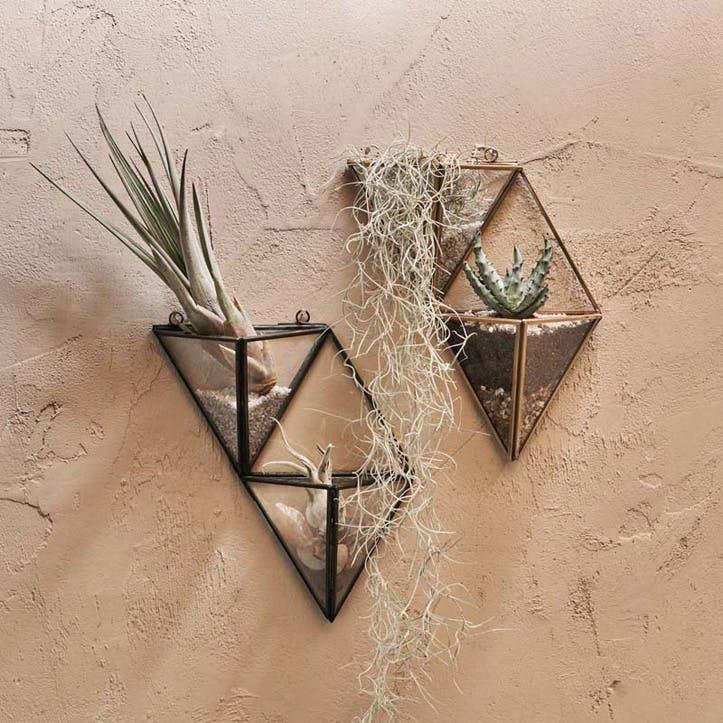 Karana Wall Hung Planter Display - Small; Antique Black