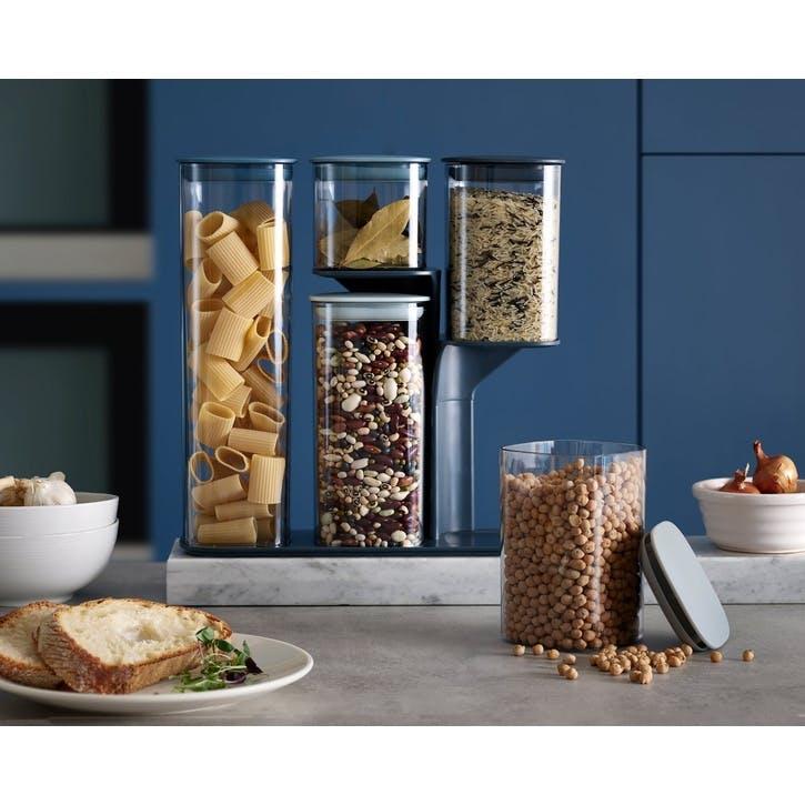 5 piece podium storage jar set with stand