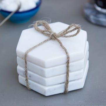 Marble Hexagonal Coasters, Set of 4, White