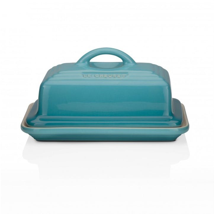 Stoneware Butter Dish; Teal