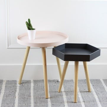 Halston Hexagon Side Table, Small, Slate Grey