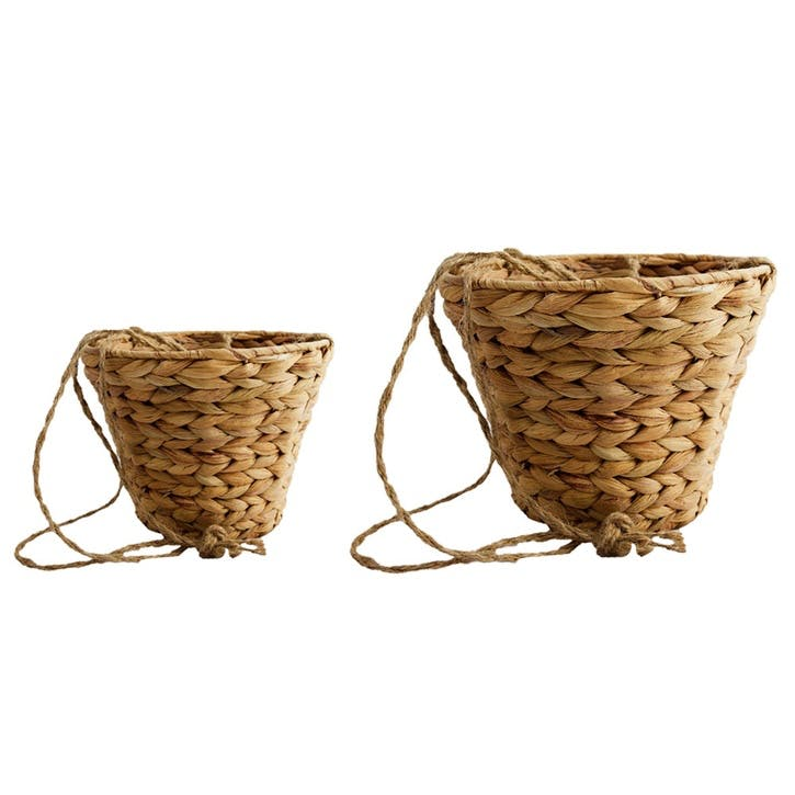 Set Of 2 Hanging Planters, Natural