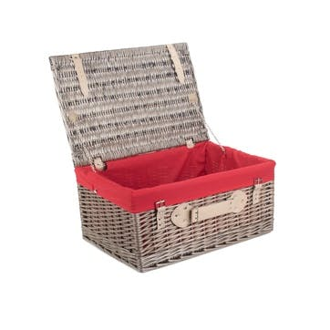 """20"""" Antique Wash Hamper with Red Lining"""