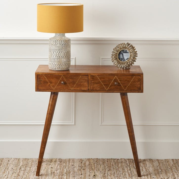 Brass Inlay Chestnut Console Table