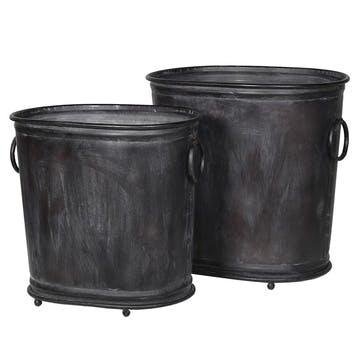 Set of 2 Zinc Bucket Planters