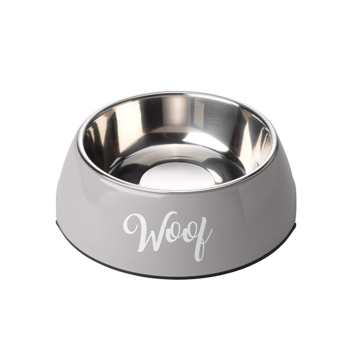 Woof 2 in 1 Dog Bowl, L, Grey