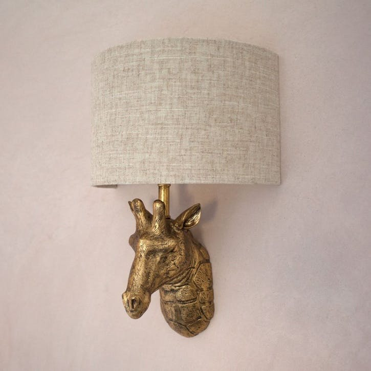 Gold Giraffe Wall Light With Shade