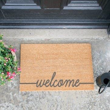 Welcome Scribble Doormat, Grey