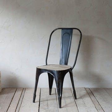 Chari Mango Wood Chair; Distressed Black & Mango Wood