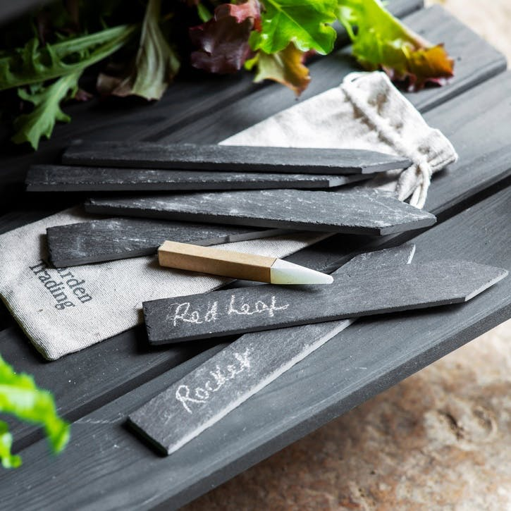 Large Slate Tags with Soapstone Pencil, Set of 6