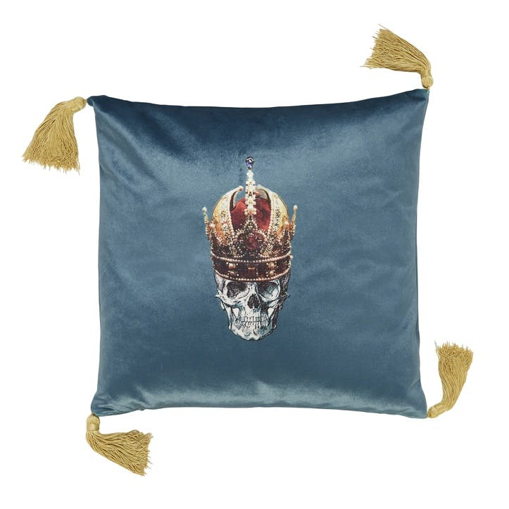 Skull in Crown Velvet Cushion, Blue