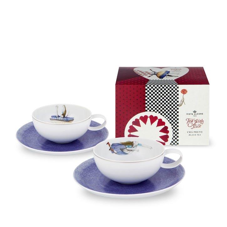 Tea With Alice Teacups & Saucers, Set of 2