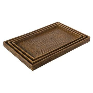 Rattan Set of 3 Nested Serving Trays