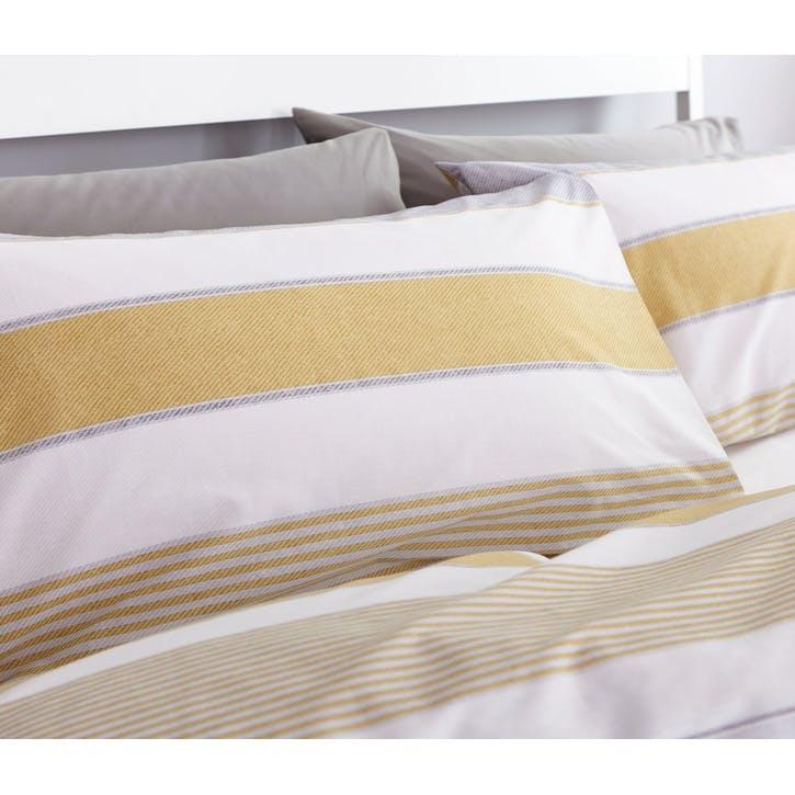 Newquay Stripe Double Bedding Set; Ochre