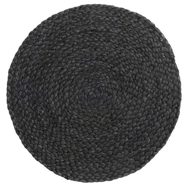Round Jute Placemat, Black