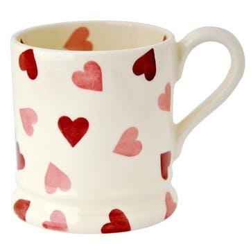 Pink Hearts Mug, 1/2 Pint