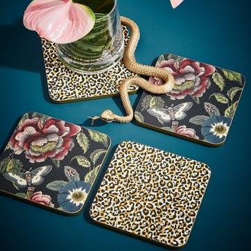 Coasters Set of 4, Leopard/Floral